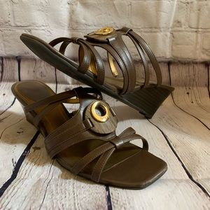 East 5th Brown Strappy Wedge Sandal Size 8.5